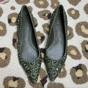 NEW Tory Burch Yasmine Embroidered Flat Olive